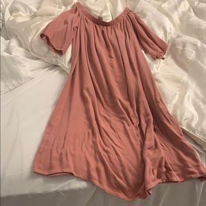 Forever 21 pink off shoulder summer dress small
